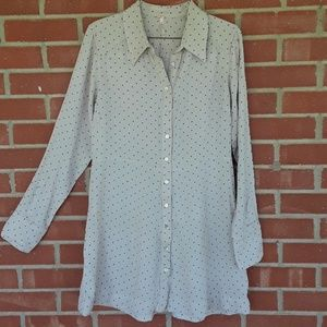 Free People taupe polka dot swing dress size Med